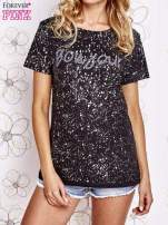 Czarny t-shirt z napisem BONJOUR