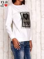 Ecru bluza z błyszczącym nadrukiem