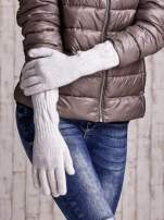 Ecru długie rękawiczki z przeszywanym ściągaczem