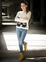 Ecru sweter z nadrukiem kota