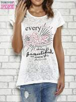 Ecru t-shirt z napisem EVERY LOVE STORY IS BEAUTIFLUL BUT OURS IS MY FAVOURITE