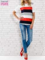 Granatowa bluzka z kolorowymi szerokimi pasami