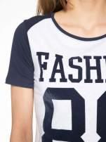 Granatowo-szary t-shirt z nadrukiem FASHION 88