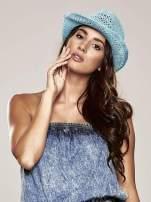 Jasnoniebieski damski kapelusz kowbojski z ciemną plecionką