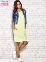 Limonkowa prosta sukienka dresowa