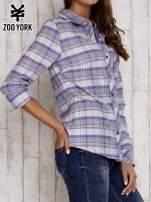 Niebieska koszula w kolorową kratę