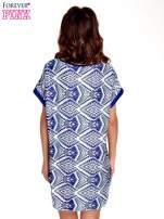Niebieska tunika w azteckie wzory