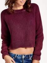 Purpurowy sweter cropped z rozporkami