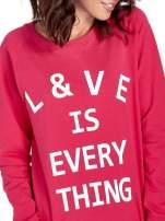 Różowa klasyczna damska bluza z napisem LOVE IS EVERYTHING