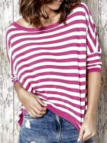 Sweter z dłuższym tyłem w biało-różowe paski Funk n Soul