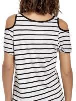 Szaro-czarna sukienka w paski cut out shoulder