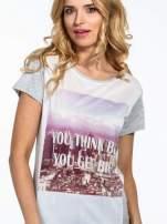 Szary t-shirt z napisem YOU THINK BIG YOU GET BIG