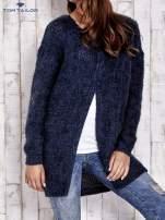 TOM TAILOR Granatowy melanżowy sweter z zapięciem na guziki
