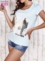 Turkusowy t-shirt damski z napisem CALIFORNICATION