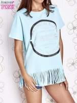 Turkusowy t-shirt z nadrukiem i frędzlami