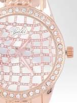 Zegarek damski na bransolecie z cyrkoniową kopertą z różowego złota