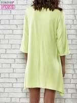 Zielona sukienka damska z nadrukiem kotów