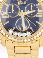 Złoty zegarek damski na bransolecie z cyrkoniami na kopercie
