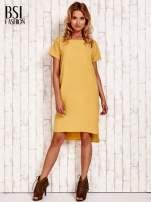 Żółta sukienka z dłuższym tyłem