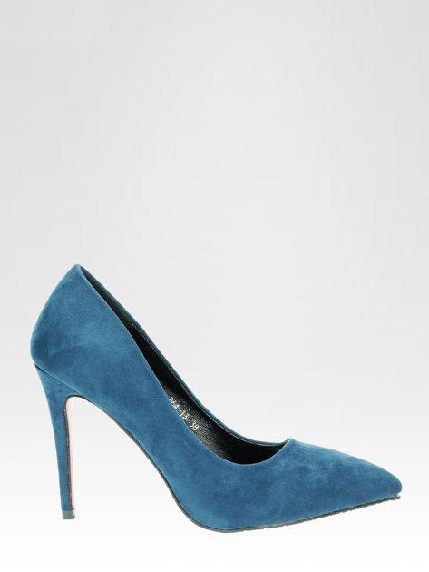 Niebieskie szpilki w szpic z zamszu faux suede                                  zdj.                                  1