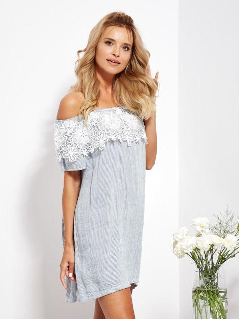 SCANDEZZA Biało-niebieska sukienka hiszpanka w cienkie paski                              zdj.                              5