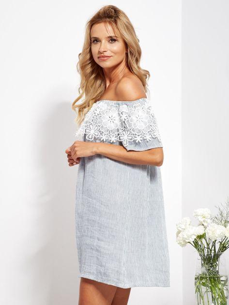 SCANDEZZA Biało-niebieska sukienka hiszpanka w cienkie paski                              zdj.                              7