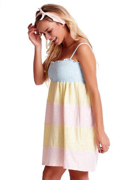 Sukienka damska na cienkich ramiączkach w kolorowe moduły                              zdj.                              3