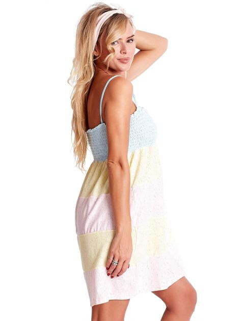 Sukienka damska na cienkich ramiączkach w kolorowe moduły                              zdj.                              4