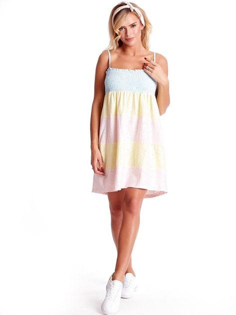 Sukienka damska na cienkich ramiączkach w kolorowe moduły                              zdj.                              5