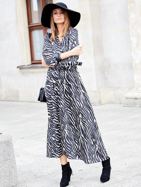 Czarno-beżowa sukienka maxi z nadrukiem pasków zebry                              zdj.                              1