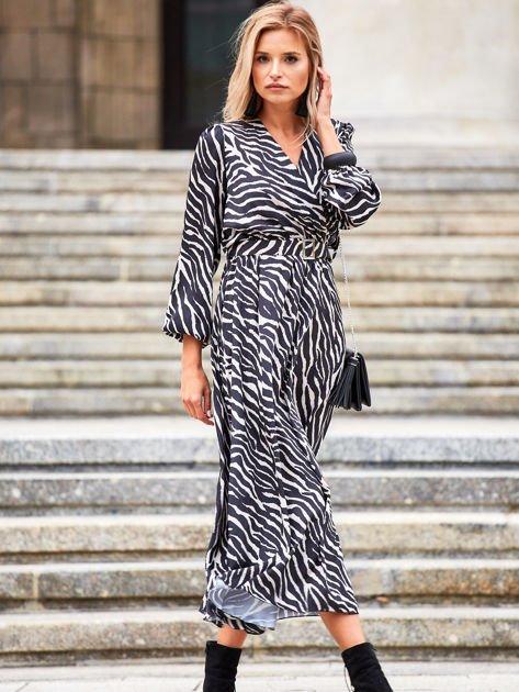 Czarno-beżowa sukienka maxi z nadrukiem pasków zebry                              zdj.                              7
