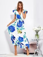 SCANDEZZA Biało-niebieska długa sukienka w kwiaty                                  zdj.                                  1