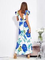 SCANDEZZA Biało-niebieska długa sukienka w kwiaty                                  zdj.                                  6