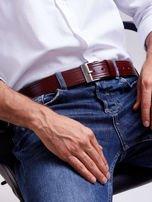 Brązowy skórzany pasek męski z przeszyciami                                  zdj.                                  5