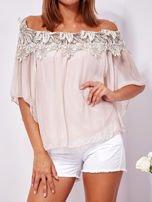 Różowa warstwowa bluzka hiszpanka z koronką                                  zdj.                                  6