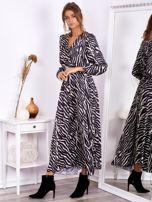 Czarno-beżowa sukienka maxi z nadrukiem pasków zebry                                  zdj.                                  3
