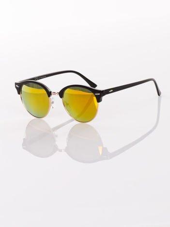Czarne okulary przeciwsłoneczne typu CLUBMASTER lustrzanki złote