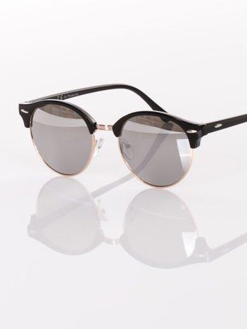 Czarne okulary przeciwsłoneczne typu CLUBMASTER srebrna lustrzanka
