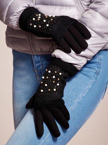 DOTYKOWE Czarne Damskie Rękawiczki MITENKI