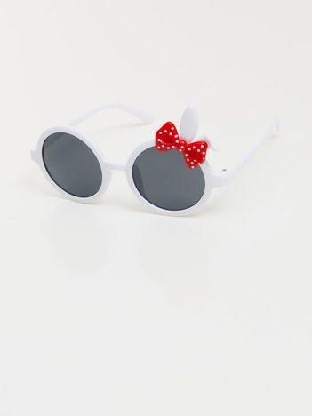 ZAJĄCZEK Z KOKARDĄ Dziecięce białe okulary  z filtrami,odporne na wyginania