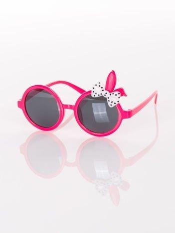 ZAJĄCZEK Z KOKARDĄ Dziecięce różowe okulary  z filtrami,odporne na wyginania