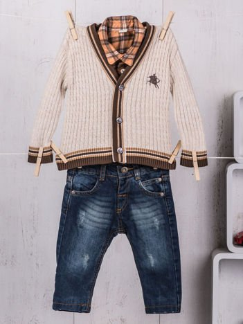 3-częściowy wizytowy zestaw niemowlęcy sweterek koszula i jeansy dla chłopca beżowo-granatowy