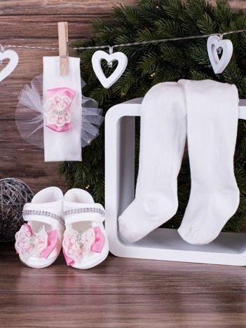 3-elementowy komplet wizytowy dla dziewczynki z różowymi kokardkami biały