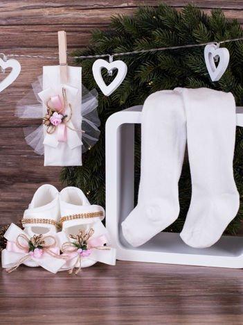 3-elementowy komplet wizytowy dla dziewczynki ze zdobieniami biały