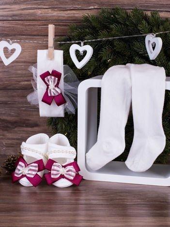 3-elementowy niemowlęcy komplet wizytowy dla dziewczynki z fioletową kokardką, biały
