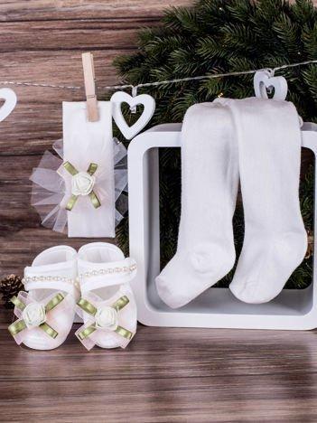 3-elementowy niemowlęcy komplet wizytowy dla dziewczynki z różowym kwiatuszkiem, biały