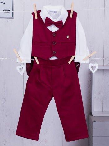 4-elementowy niemowlęcy wizytowy zestaw dla chłopca bordowy