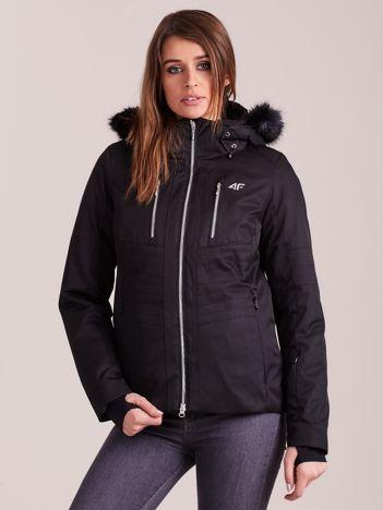 4F Czarna kurtka narciarska z odczepianym kapturem