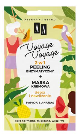 """AA Voyage Voyage Peeling enzymatyczny + Maska kremowa 2w1 Papaja i Ananas  2x5ml"""""""
