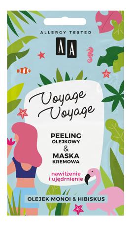 "AA Voyage Voyage Peeling olejkowy + Maska kremowa 2w1 Olejek Monoi i Hibiskus  2x5ml"""